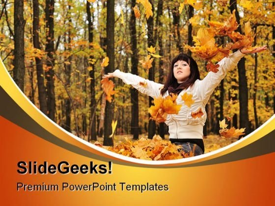 Autumn Girl Nature PowerPoint Template 1010