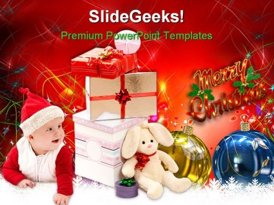 Baby With Christmas Presents Festival PowerPoint Templates And PowerPoint Backgrounds 0311