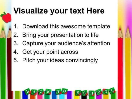 back to school pencils education powerpoint templates and, Powerpoint templates