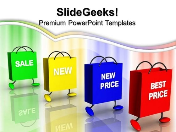 Bags And Prices Shopping Carry Sale PowerPoint Templates And PowerPoint Themes 0712