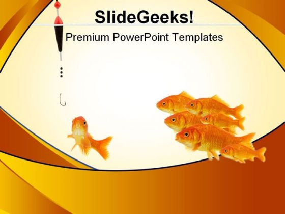 Bait Gold Fishes PowerPoint Template 0810