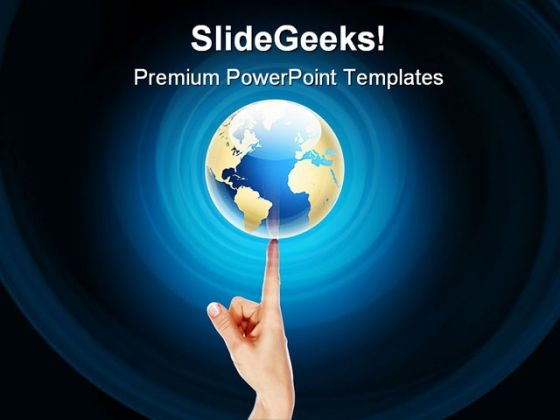 balance globe on finger earth powerpoint templates and powerpoint, Modern powerpoint