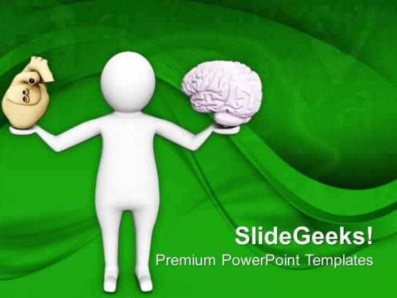 Balance Your Heart With Brain PowerPoint Templates Ppt Backgrounds For Slides 0713