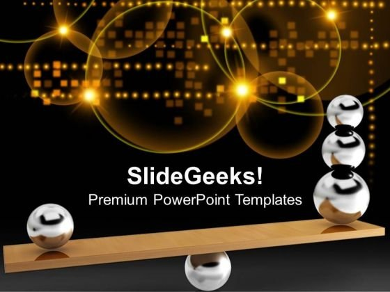 Balancing Balls On Wooden Board Success PowerPoint Templates And PowerPoint Themes 0812