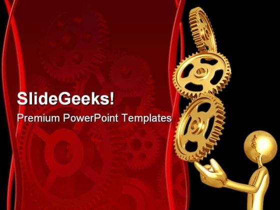 Balancing Golden Gears Business PowerPoint Themes And PowerPoint Slides 0511