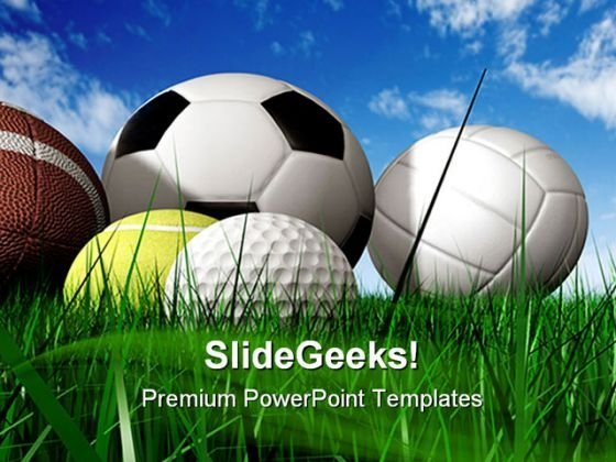Balls On The Grass Sports PowerPoint Templates And PowerPoint Backgrounds 0211