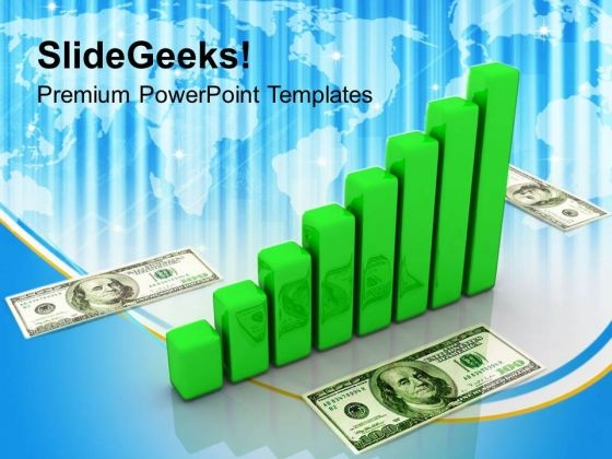 Bar Graph Dollar Finance PowerPoint Templates Ppt Backgrounds For Slides 1212
