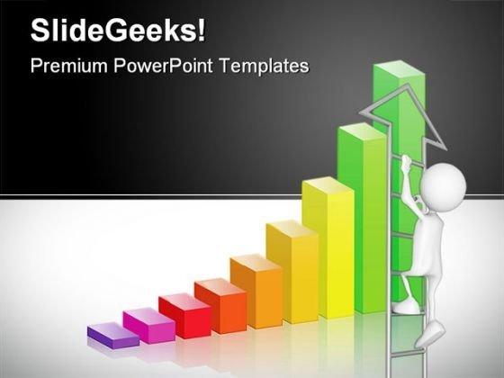 Bar Graph Ladder Business PowerPoint Background And Template 1210