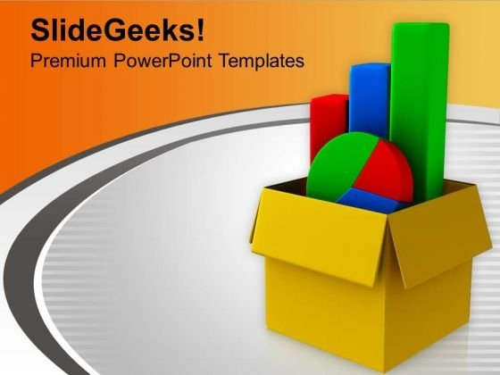Bar Graph Pie Chart In Box PowerPoint Templates Ppt Backgrounds For Slides 0213