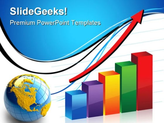 Bar Graph With Globe Business PowerPoint Templates And PowerPoint Backgrounds 1211
