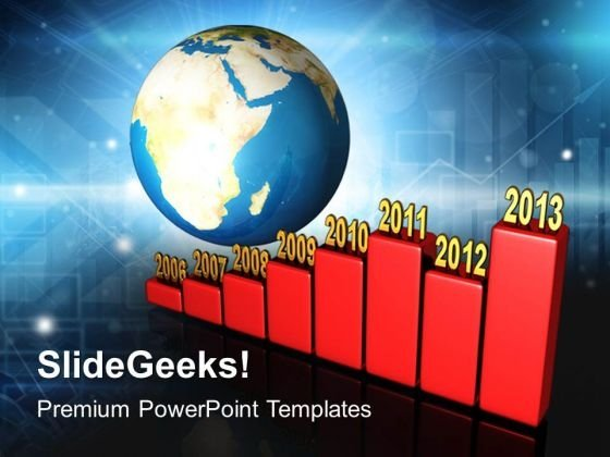 Bar Graph Yearly Along Earth PowerPoint Templates And PowerPoint Themes 1012
