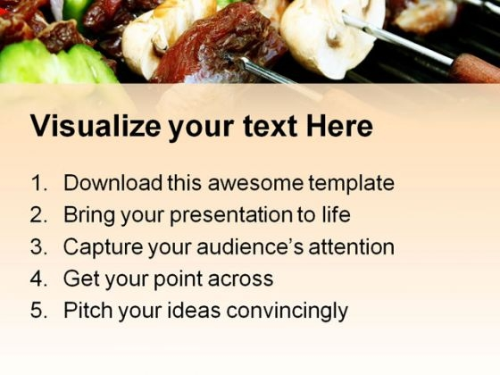 barbeque sticks food powerpoint templates and powerpoint, Modern powerpoint