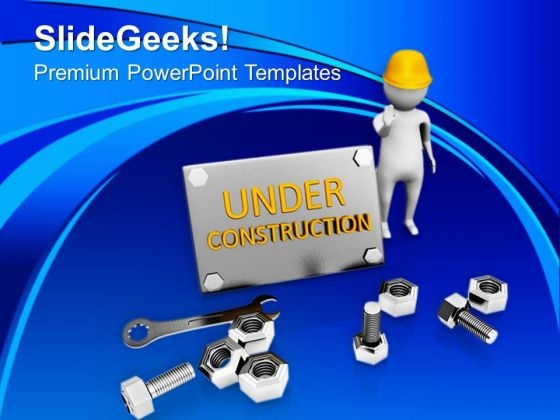 Be Aware At Under Construction Site PowerPoint Templates Ppt Backgrounds For Slides 0813