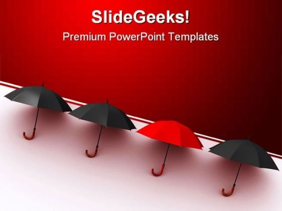 Be Different Umbrellas Shapes PowerPoint Templates And PowerPoint Backgrounds 0411
