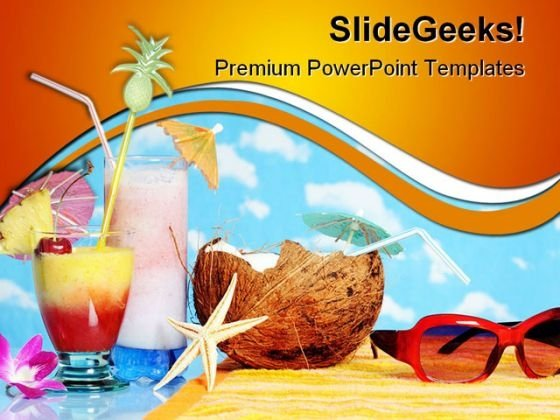 Beach Holidays PowerPoint Template 0810