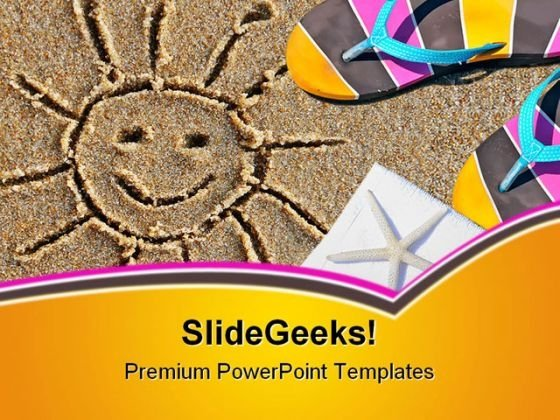 Beach Scene And Sun Holidays PowerPoint Themes And PowerPoint Slides 0511