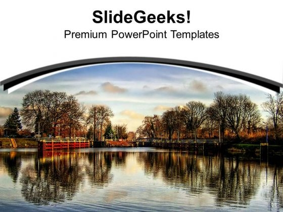 Beautiful Lake View With Sky PowerPoint Templates Ppt Backgrounds For Slides 0713