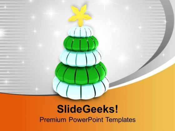 Beautiful Pine Tree For Christmas PowerPoint Templates Ppt Backgrounds For Slides 0513