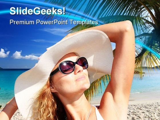 Beautiful Woman Beach PowerPoint Themes And PowerPoint Slides 0411