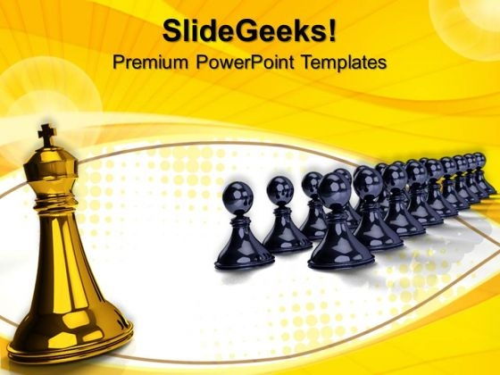 Big King In Front Pawns Game PowerPoint Templates And PowerPoint Themes 0712