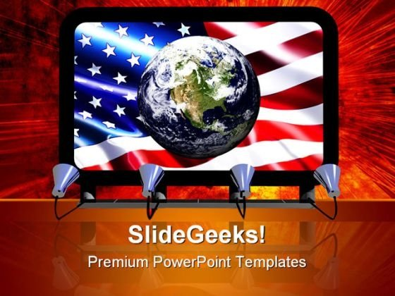 Billboard Earth Globe Americana PowerPoint Templates And PowerPoint Backgrounds 0411