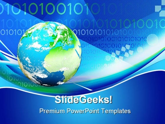 Binary Globe Earth PowerPoint Template 1110