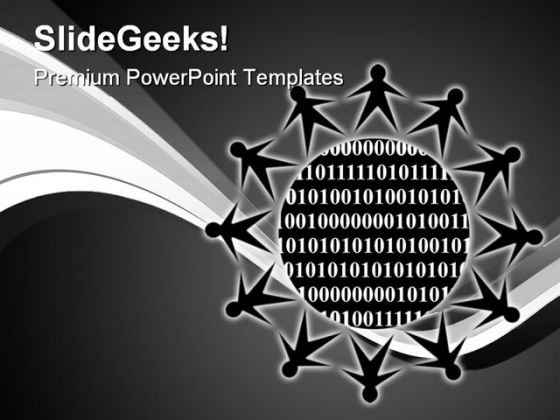 Binary People PowerPoint Template 0910