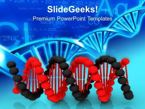 Black And Red Dna For Medical Theme PowerPoint Templates Ppt Backgrounds For Slides 0413
