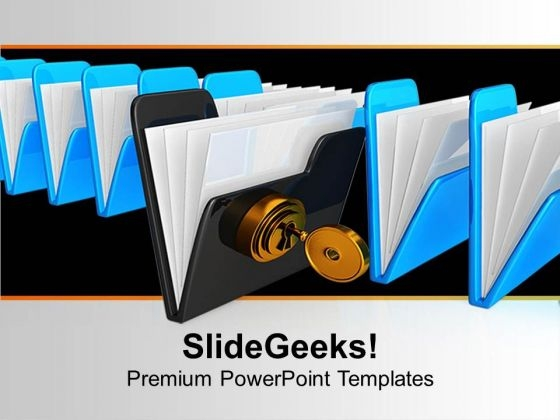 Black Folder With Keys Security PowerPoint Templates Ppt Backgrounds For Slides 0113