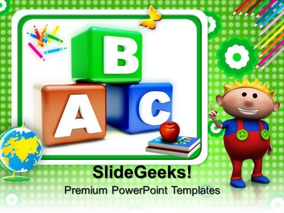 Blocks Alphabet Education PowerPoint Templates And PowerPoint Themes 0912