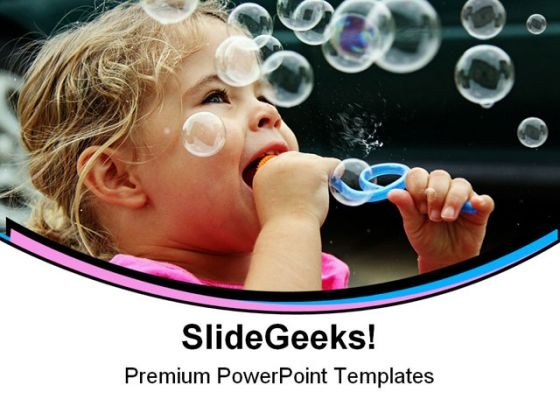 Blowing Bubbles Children PowerPoint Themes And PowerPoint Slides 0411