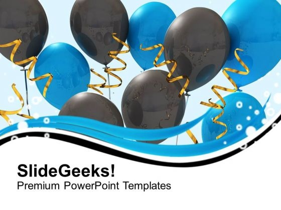 Blue And Black Balloons With Ribbons Party PowerPoint Templates Ppt Backgrounds For Slides 1212