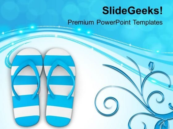 Blue And White Stripy Flip Flops PowerPoint Templates Ppt Backgrounds For Slides 0713