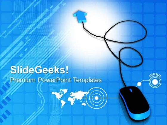 Blue Arrow With Computer Mouse PowerPoint Templates And PowerPoint Themes 0812
