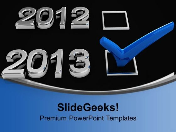 Blue Checkmark On New Year Holidays Powerpoint Templates Ppt