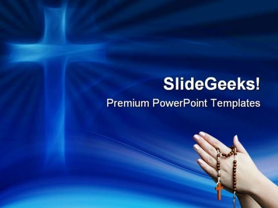 Blue Cross Religion PowerPoint Themes And PowerPoint Slides 0511