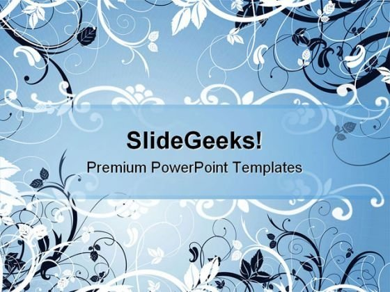 Blue Floral Abstract Powerpoint Background And Template