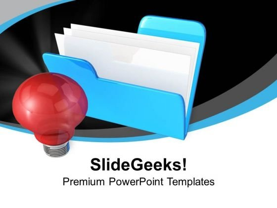 Blue Folder With Red Light Bulb PowerPoint Templates Ppt Backgrounds For Slides 0313