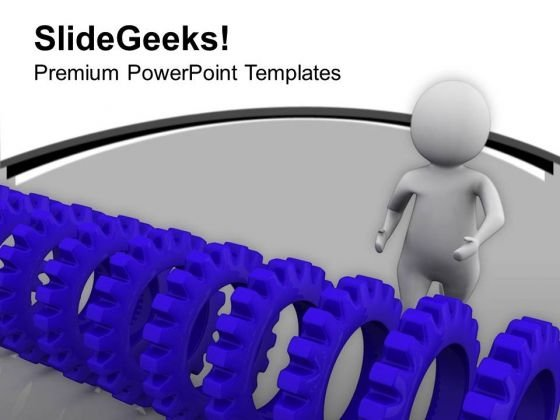 Blue Gears And A Man 3d Illustration PowerPoint Templates Ppt Backgrounds For Slides 0713