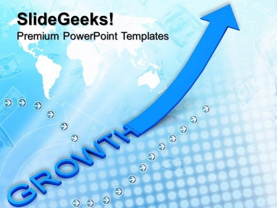 Blue Growth And Arrow Pointing Up Business PowerPoint Templates And PowerPoint Themes 0812