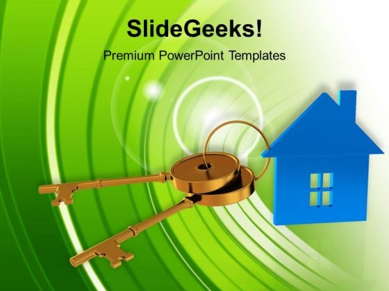Blue House Connected With Keys Symbol PowerPoint Templates Ppt Backgrounds For Slides 0113