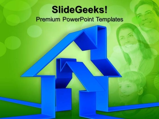 Blue House With Family Illustration PowerPoint Templates And PowerPoint Themes 1012
