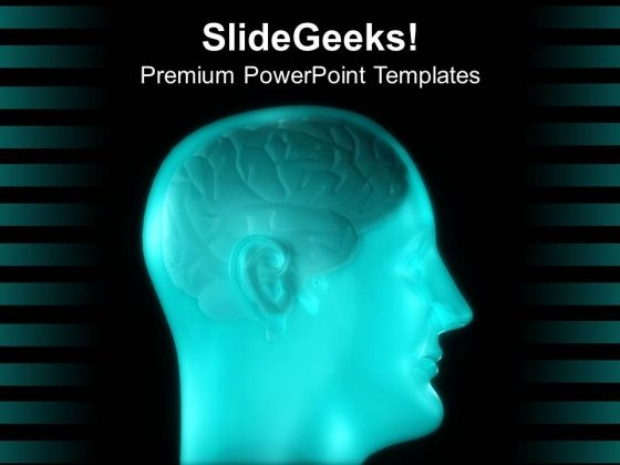 Blue Human Brain Design For Medical Theme PowerPoint Templates Ppt Backgrounds For Slides 0613
