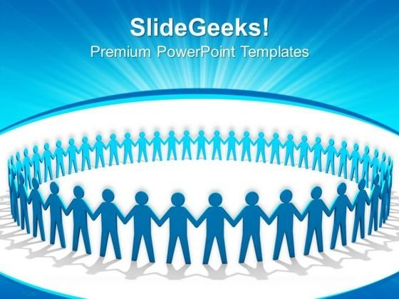 Blue People Holding Hands In Circle Business PowerPoint Templates And PowerPoint Themes 0712