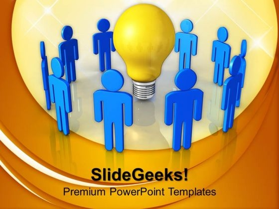 Blue Team With Yellow Bulb PowerPoint Templates And PowerPoint Themes 1012