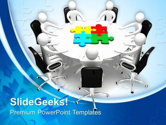 Board Meeting And Puzzle Pieces Jigsaw PowerPoint Templates And PowerPoint Themes 0712