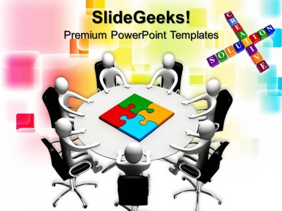 Board Members Table And Puzzle Pieces Business PowerPoint Templates And PowerPoint Themes 0712