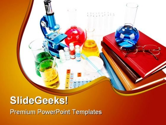 Books And Flasks Science PowerPoint Backgrounds And Templates 1210