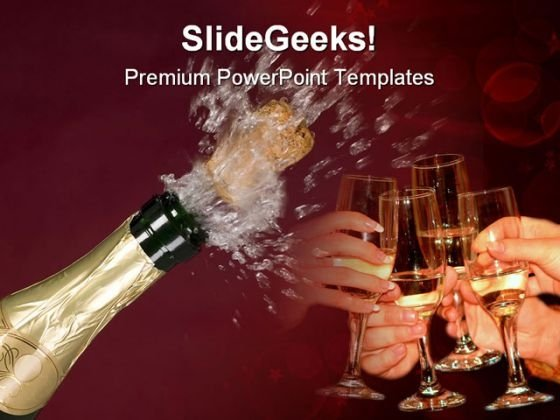 Bottle Of Champagne Success PowerPoint Themes And PowerPoint Slides 0511