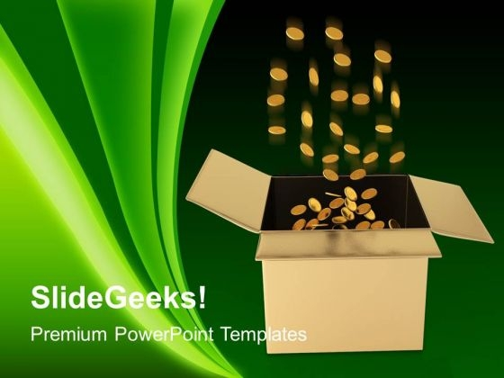 Box Full Of Coins Finance PowerPoint Templates And PowerPoint Themes 1012
